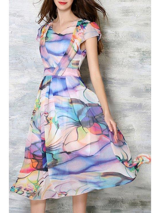 lady Colored Print Short Sleeve A Line Midi Skater Dress - COLORMIX XL