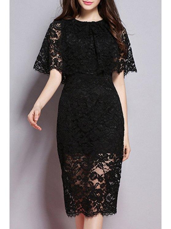 Cuello redondo de encaje vestido de color sólido - Negro S