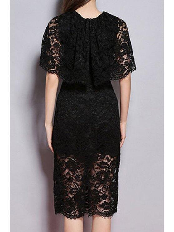 Lace Round Neck Solid Color Dress - BLACK S Mobile