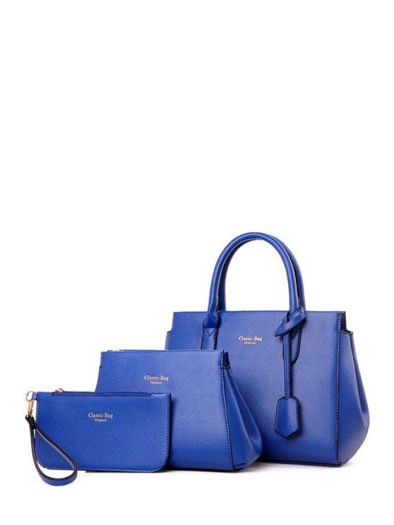 Impresión de la letra del color sólido de la bolsa de asas - Azul
