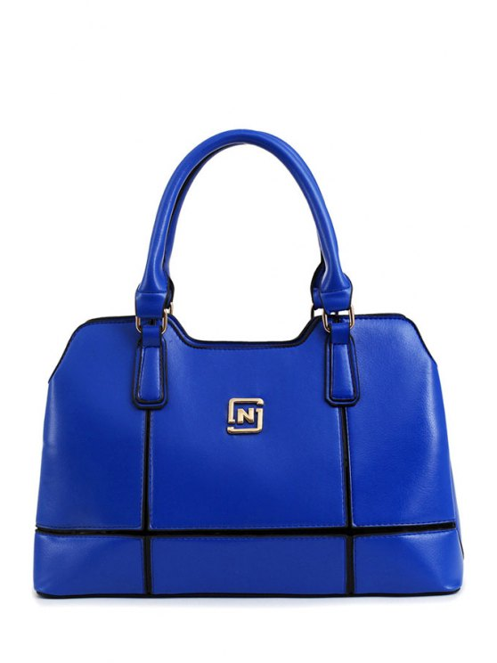 womens Metal Letter Solid Color Tote Bag - BLUE