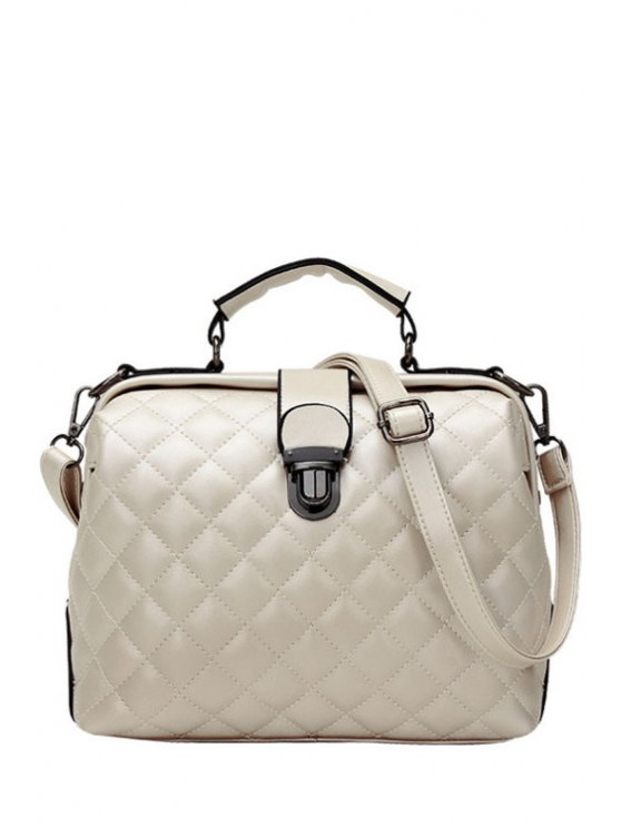 Checked Stitching Push Lock Tote Bag - OFF-WHITE  Mobile
