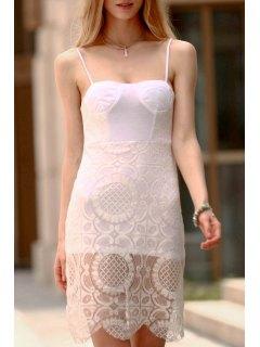 Lace Slip Bodycon Dress - White L