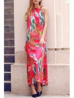 Flower Print Round Neck Sleeveless Chiffon Dress - Red Xl