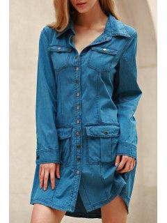 Blue Denim Long Sleeve Shirt Dress - Blue M