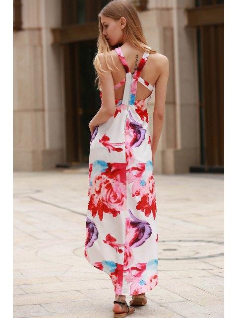 outfit Irregular Hem Flower Print Dress - WHITE XL Mobile