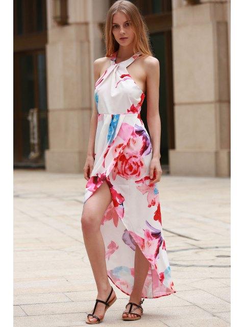 hot Irregular Hem Flower Print Dress - WHITE L Mobile