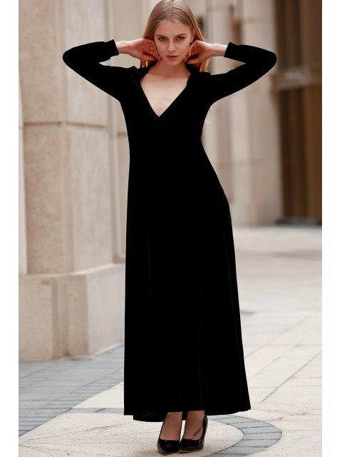 women's Black Velvet Plunging Neck Long Sleeve Dress - BLACK 2XL Mobile