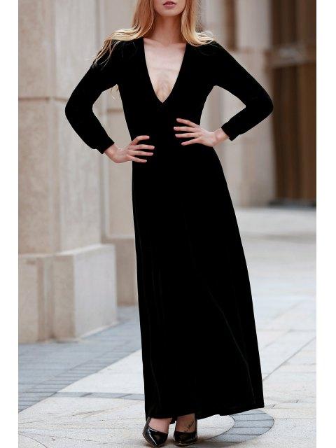 womens Black Velvet Plunging Neck Long Sleeve Dress - BLACK L Mobile