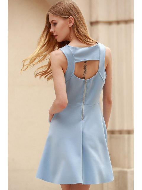 women Light Blue Hollow Scoop Neck Sleeveless Sundress - LIGHT BLUE 2XL Mobile