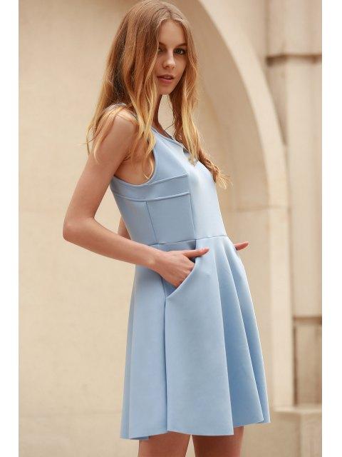buy Light Blue Hollow Scoop Neck Sleeveless Sundress - LIGHT BLUE L Mobile
