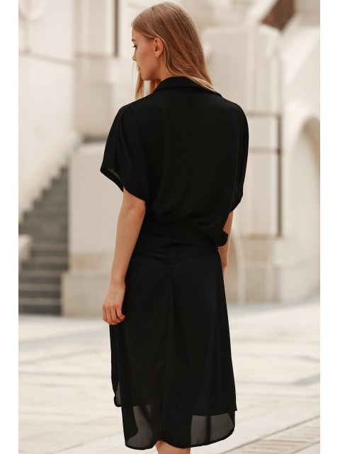 outfit Short Sleeve Loose Dress - BLACK 2XL Mobile