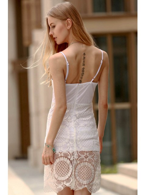 outfits Lace Slip Bodycon Dress - WHITE M Mobile