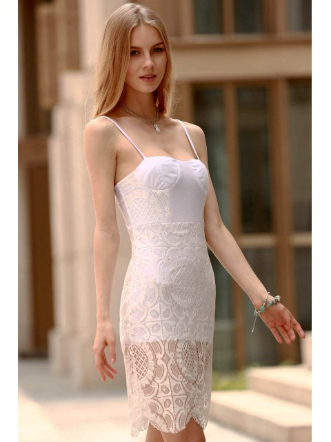 shop Lace Slip Bodycon Dress - WHITE L Mobile