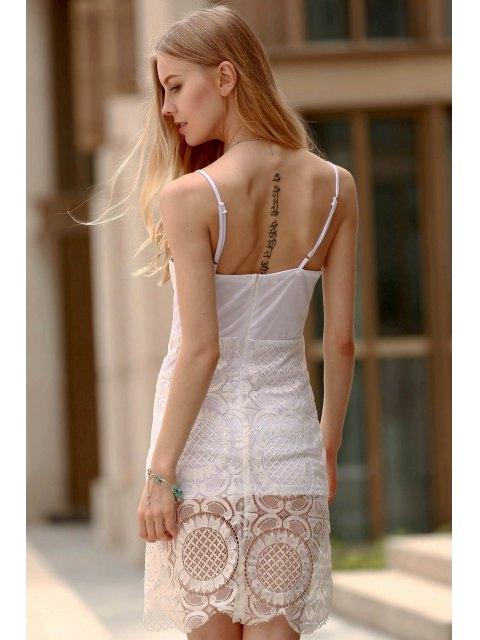 latest Lace Slip Bodycon Dress - WHITE XL Mobile