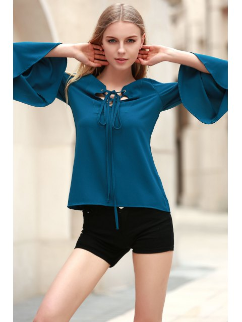 shop Solid Color Plunging Neck Long Flare Sleeve Blouse - CYAN XL Mobile