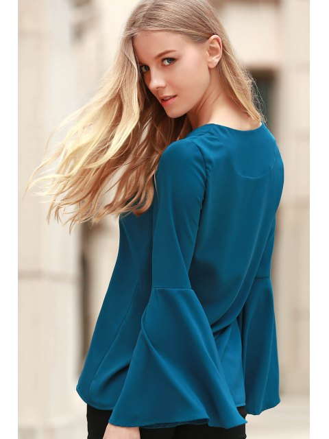 hot Solid Color Plunging Neck Long Flare Sleeve Blouse - CYAN S Mobile