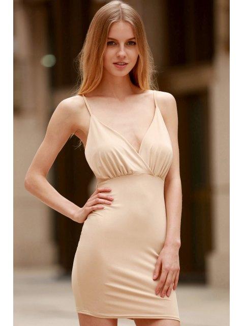 affordable Women Spaghetti Strap Backless Club Dress - KHAKI S Mobile