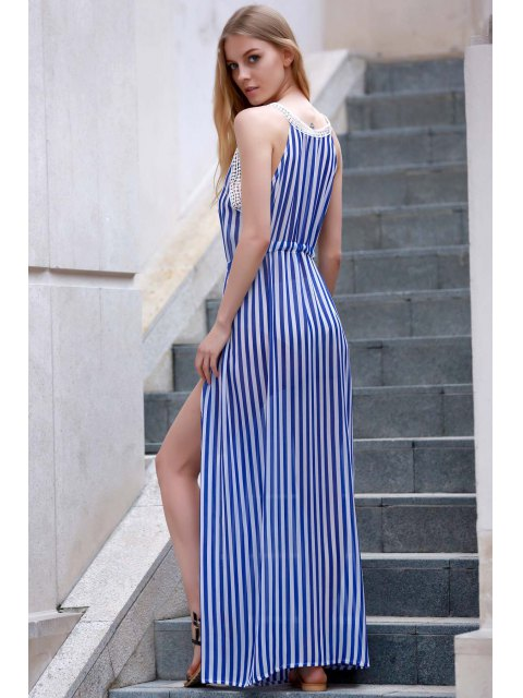 outfits Vertical Striped Slit Dress - BLUE AND WHITE XL Mobile