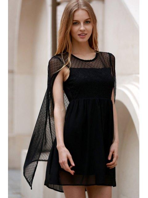 new Voile Shawl Round Neck Sleeveless Dress - BLACK M Mobile