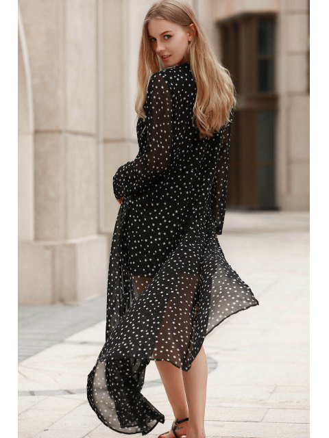 hot Plunging Neck Polka Stars Layered Romper - BLACK L Mobile