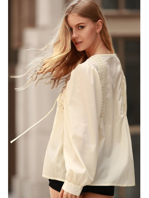 sale White Lace Up Jewel Neck Long Sleeve Blouse - LIMEADE M Mobile
