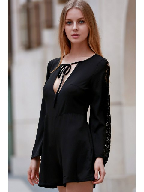 lady Black Lace Splicing Plunging Neck Long Sleeve Romper - BLACK S Mobile