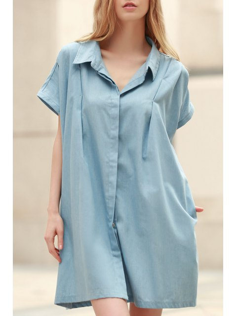 unique Loose Retro Turn-Down Collar Short Sleeve Dress - LIGHT BLUE 2XL Mobile