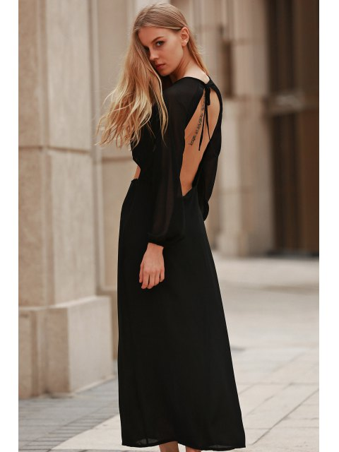 fashion Hollow Out Long Sleeve Backless Maxi Dress - BLACK S Mobile