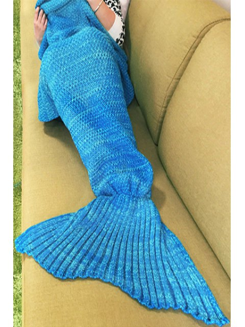 online Knitted Sleep Cell Mermaid Blanket - BLUE ONE SIZE(FIT SIZE XS TO M) Mobile