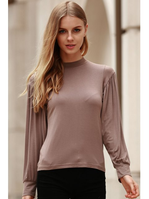 lady Khaki Stand Neck Long Sleeve T-Shirt - KHAKI S Mobile