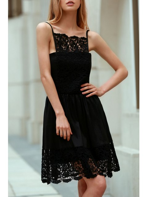 outfits Semi Formal Lace Spliced Cami Black Dress - BLACK L Mobile