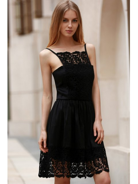 shop Semi Formal Lace Spliced Cami Black Dress - BLACK XL Mobile