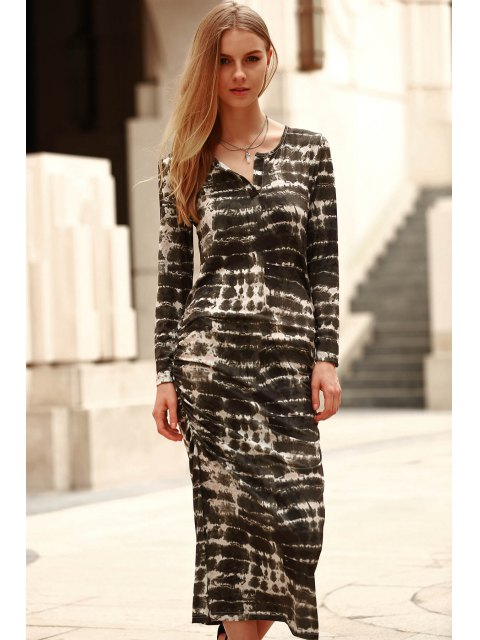 shops Abstract Print Long Sleeve Bodycon Dress - GREEN L Mobile