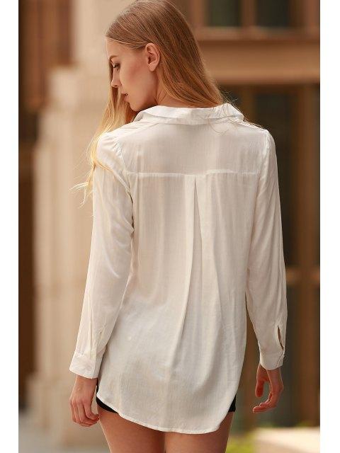 trendy White Side Slit Long Sleeve Shirt - WHITE M Mobile