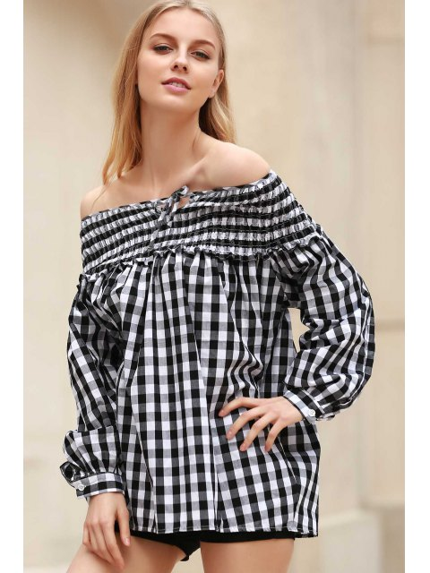 Plaid Pleated Scoop Neck Blouse manches longues - Blanc et Noir S Mobile