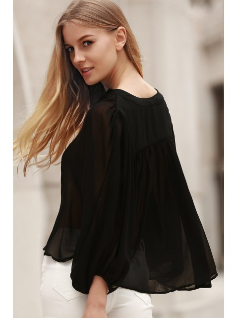 ladies Black Stand Neck Half Sleeve See-Through Blouse - BLACK L Mobile