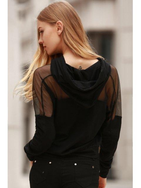 trendy Voile Spliced Hooded Long Sleeve Hoodie - BLACK S Mobile