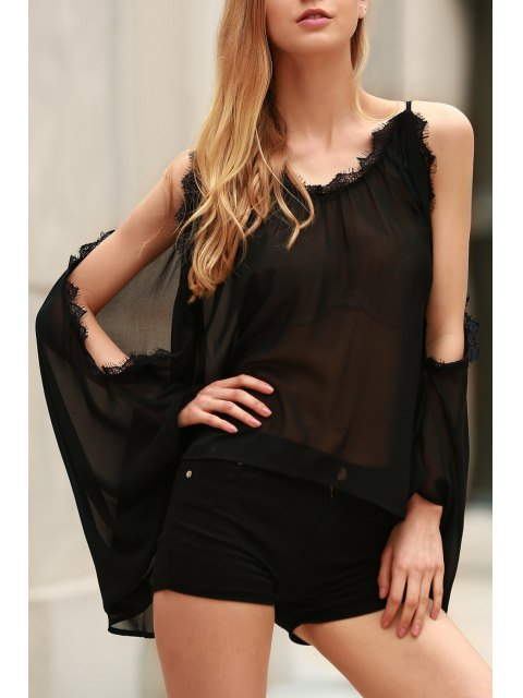shop Eyelash Lace Spliced Draped Blouse - BLACK S Mobile