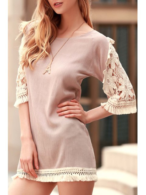 best Perspective Lace Splicing Round Neck 3/4 Sleeve Dress - LIGHT KHAKI XL Mobile