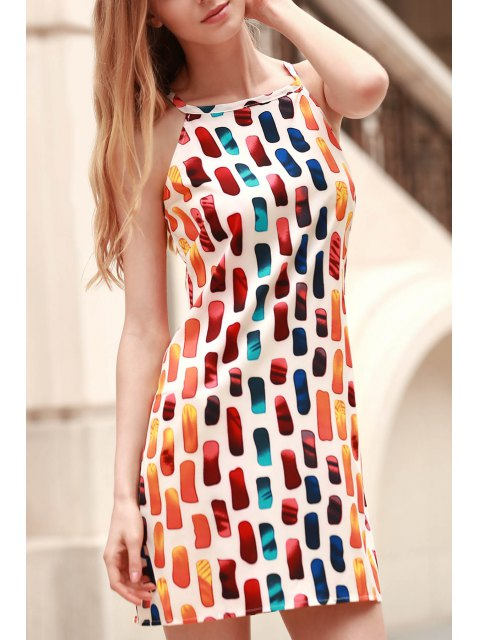 online Printed Round Collar Loose Fitting Dress - COLORMIX L Mobile