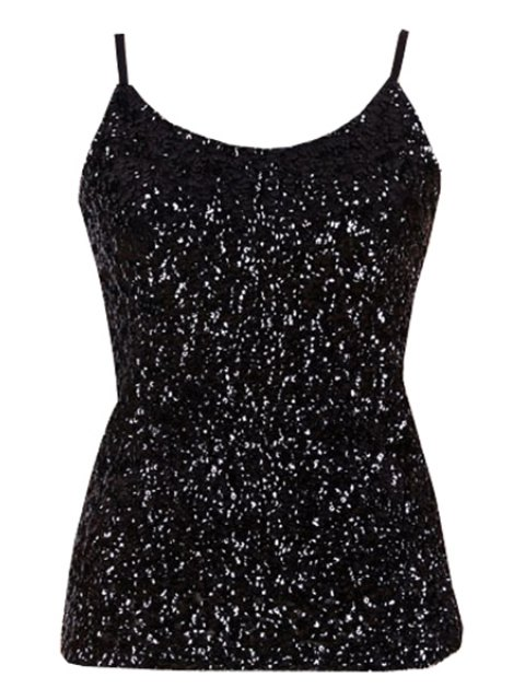 womens Sequin Solid Color Spaghetti Straps Tank Top - BLACK ONE SIZE(FIT SIZE XS TO M) Mobile
