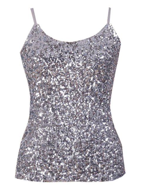 buy Sequin Solid Color Spaghetti Straps Tank Top - SILVER ONE SIZE(FIT SIZE XS TO M) Mobile