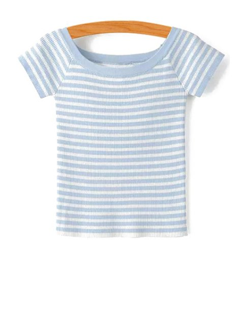 shop Slash Neck Striped Knit T-Shirt - LIGHT BLUE M Mobile