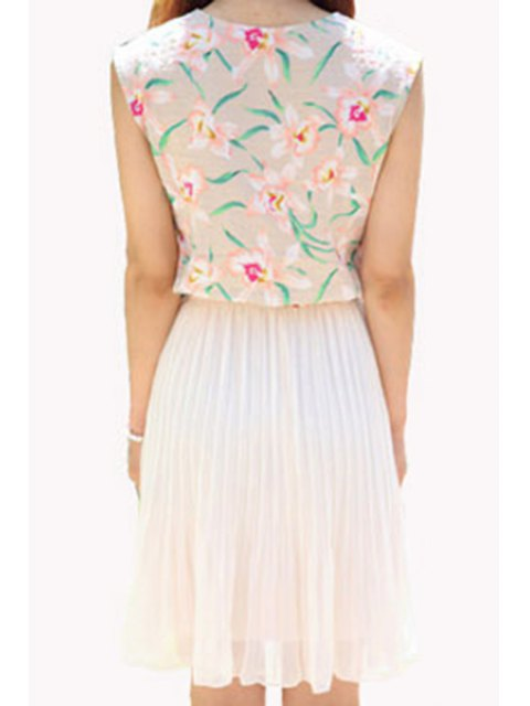 outfit Floral Spliced Sleeveless Pleated Dress - APRICOT S Mobile