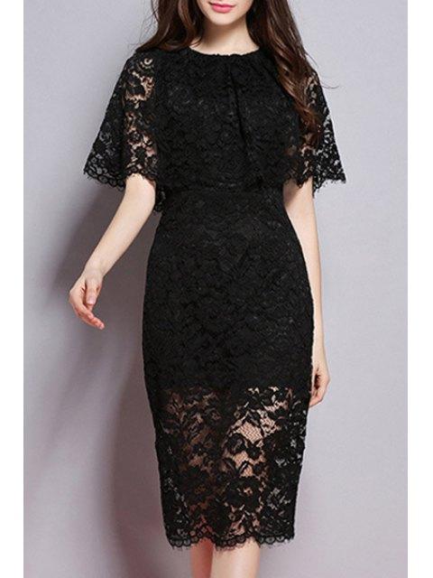 shops Lace Round Neck Solid Color Dress - BLACK S Mobile