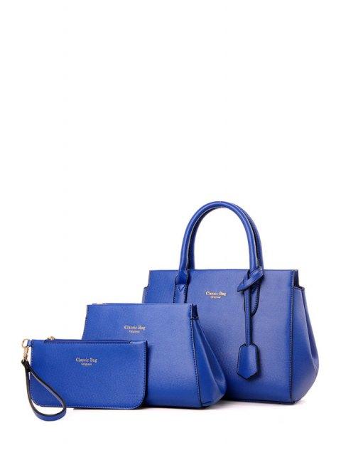 latest Letter Print Solid Color Tote Bag - BLUE  Mobile
