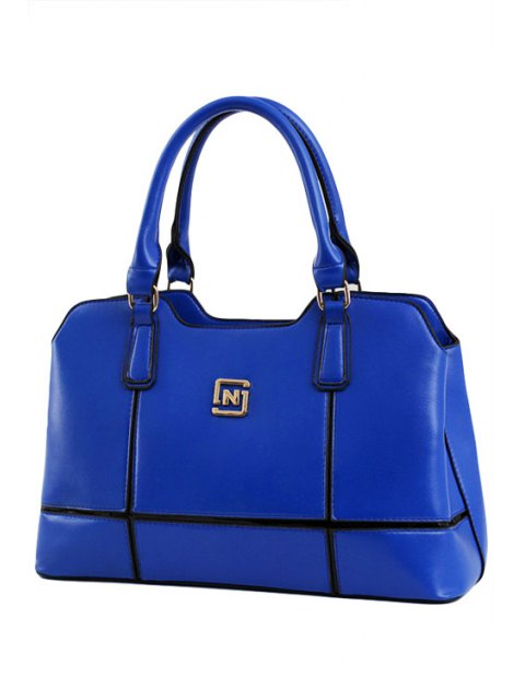 womens Metal Letter Solid Color Tote Bag - BLUE  Mobile