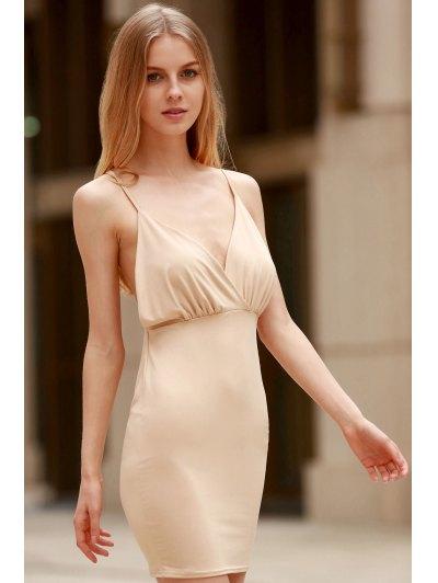 Women Spaghetti Strap Backless Club Dress - KHAKI S Mobile