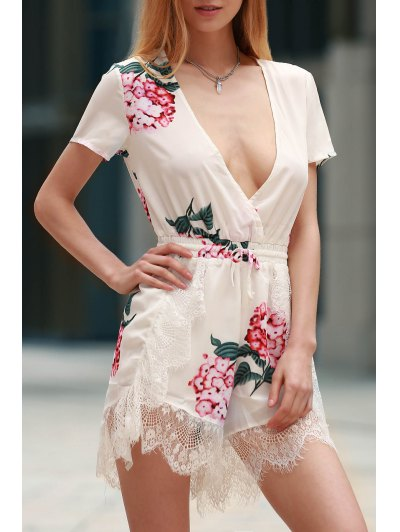 Floral Print Plunging Neck Short Sleeve Romper - WHITE S Mobile
